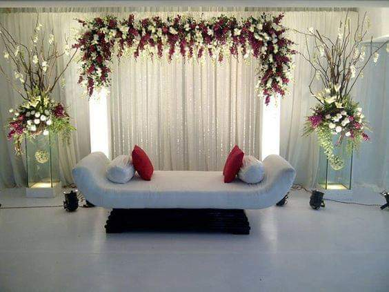 Wedding Stage Decoration with White Flowers